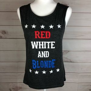 Red White And Blonde Tank By Bella Canvas
